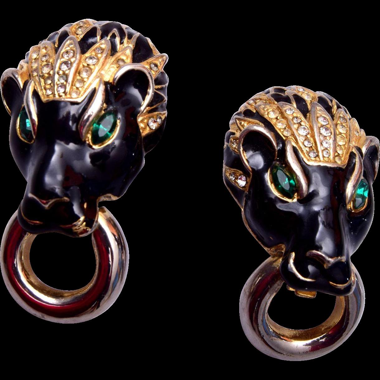 Vintage Panther Door Knocker Earrings