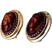 Whiting and Davis Molded Glass Cameo Earrings