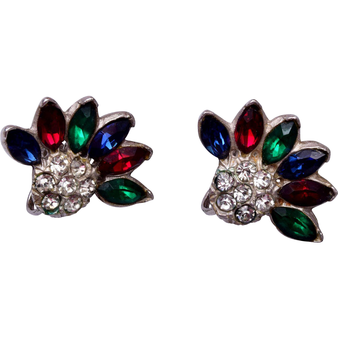 Sterling Red Blue and Green Rhinestone Earrings