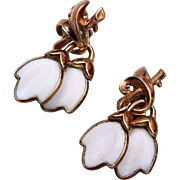 Trifari Pre 1955 Molded Glass Earrings