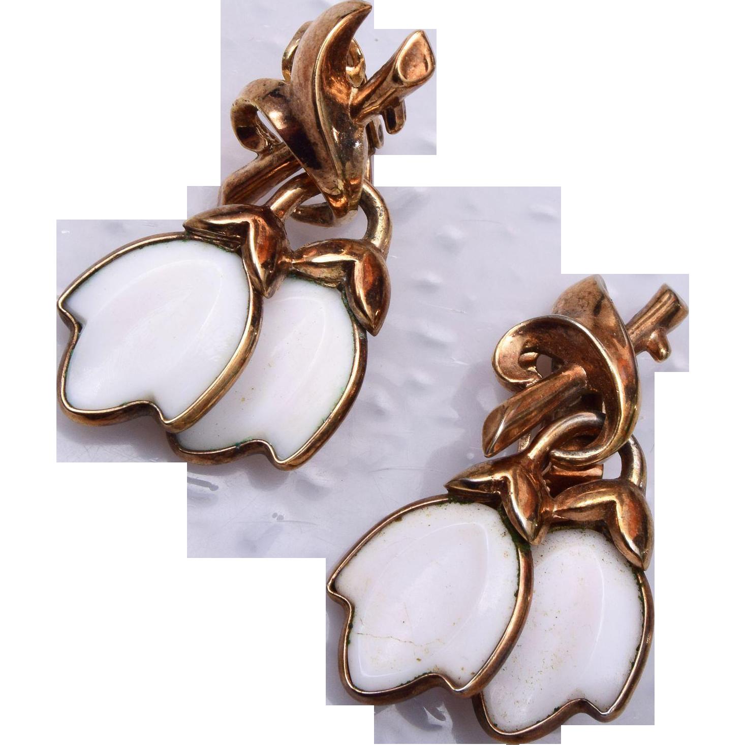 Trifari Pre 1955 Molded Glass Earrings