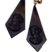 Black Glass Cameo Pierced Earrings