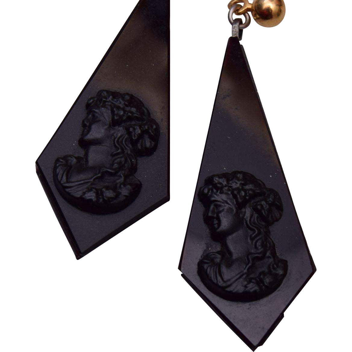 Black Glass Cameo Pierced Earrings