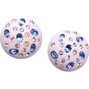 Blue and White Lucite and Rhinestone Earrings
