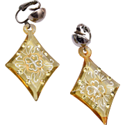 Lucite and Rhinestone Dangle Earrings