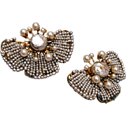 Miriam Haskell Butterfly Tiny Seed Pearl Earrings