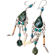 Jade, Turquoise and Real Tooth Pierced Earrings