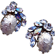 Regency AB Rhinestone and Faux Pearl Earrings