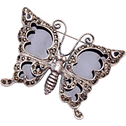 Sterling and Marcasite Butterfly Brooch