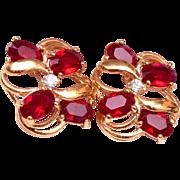 Pierced Red Stone Earrings