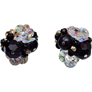 Vendome Black and Clear Crystal Earrings