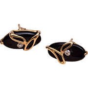 10kt Gold, Onyx and Diamond Pierced Earrings