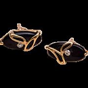 10kt Gold, Onyx and Diamond Pierced Earrings