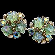 Lisner Glowing Molded Leaf Earrings