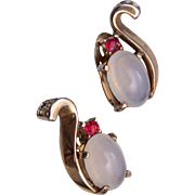 Trifari Patent 143989 Moonstone Earrings