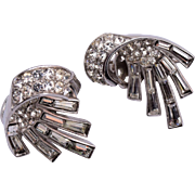 Pre 1955 Trifari Silver Toned and Rhinestone Earrings