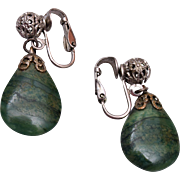 Jade Tear Drop and Filigree Earrings