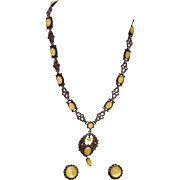 Yellow Star Sapphire Open Work Necklace and Earring Set