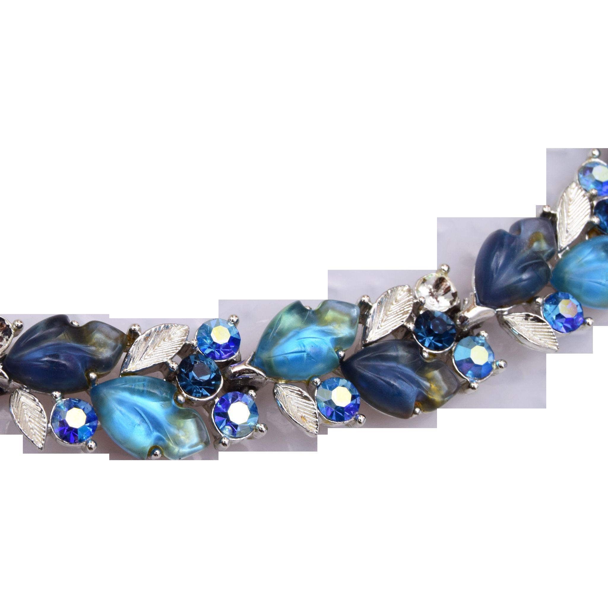 Lisner Blue Glowing Leaf Necklace