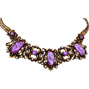 Purple Thermoset and Faux Pearl Necklace