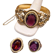 Purple Stone Hinged Bracelet and Matching Ring