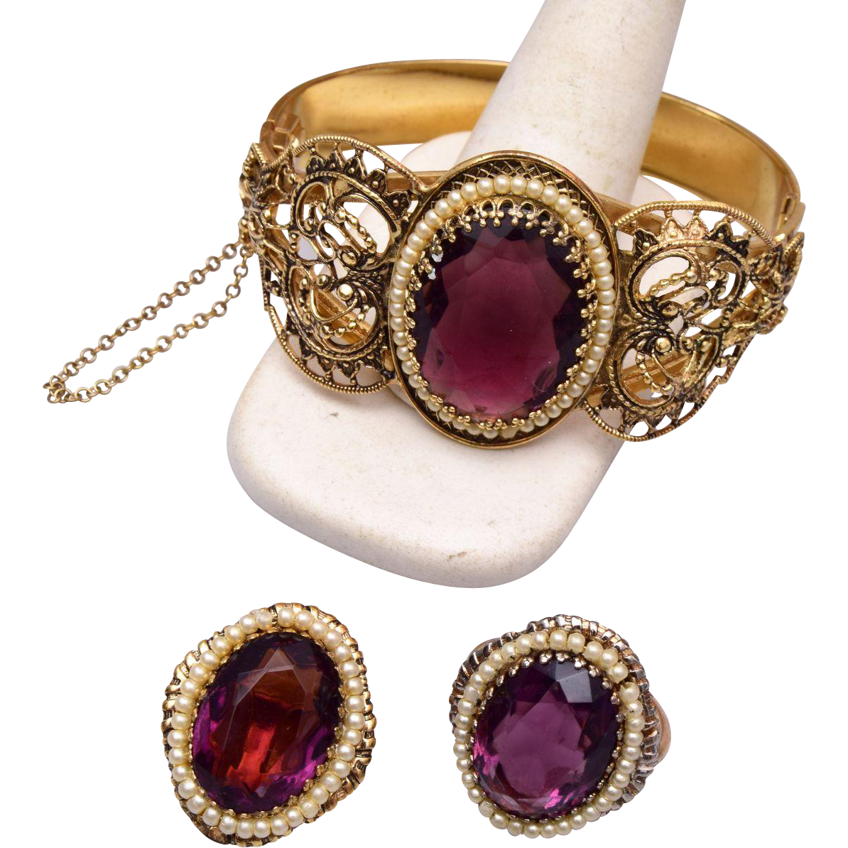 Purple Stone Hinged Bracelet and Matching Ring