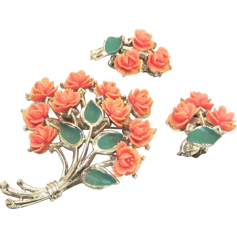 JJ Floral Celluloid Set of Brooch and Earrings