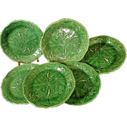 Antique English Majolica Plates, Greenware Squash Leaf Pattern, C 1870