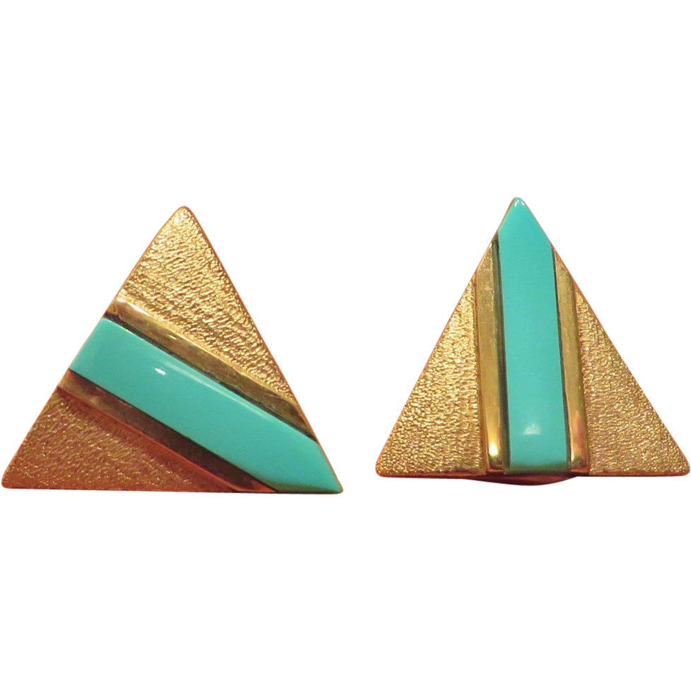 14K Gold Custom Pierced Earrings with Turquoise Blue Stripe