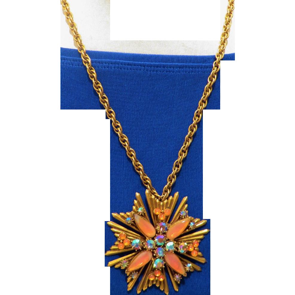 Florenza Orange Art Glass Necklace