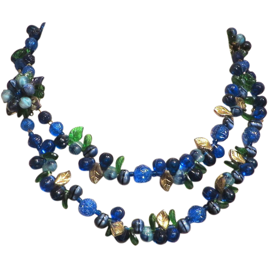 Blues Molded Plastic and Art Glass Floral 2-Strand Necklace