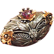 Hobe Sterling 1/20 14K and Amethyst Color Crystal Brooch