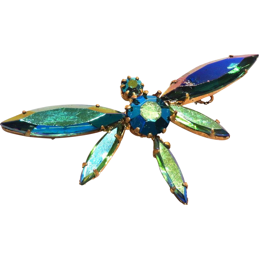 Austria Crystal Butterfly Or Dragonfly Brooch Blue Green Sold On Ruby Lane