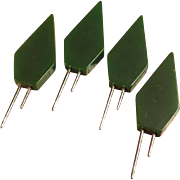 Set of 4 Green Bakelite Corn Holders