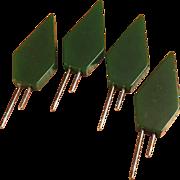 Set of 4 Green Bakelite Corn Holders