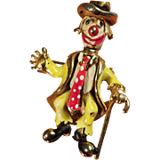 Rare Coro Craft Articulated Enamel Clown - Happy and Sad Faces