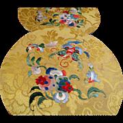 Pair Antique Chinese Silk Embroidered Roundels, Forbidden Stitch