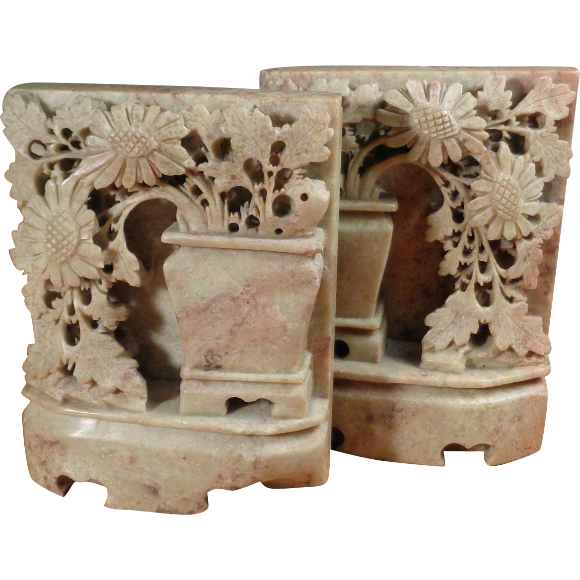 Pair Vintage  Chinese Soapstone Bookends