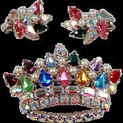 B David Crown Brooch and Earrings Set