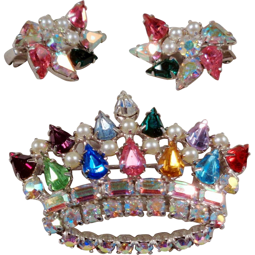 B David Crown Brooch and Earrings Set