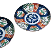 Pair Antique Japanese Imari dishes, Meiji Period