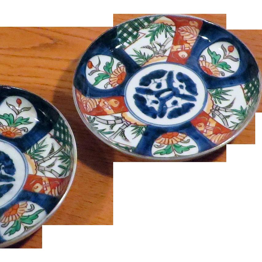 Pair Antique Japanese Imari dishes, Meiji Period