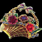Coro Craft Sterling Enamel Flower Basket Brooch - 1940's