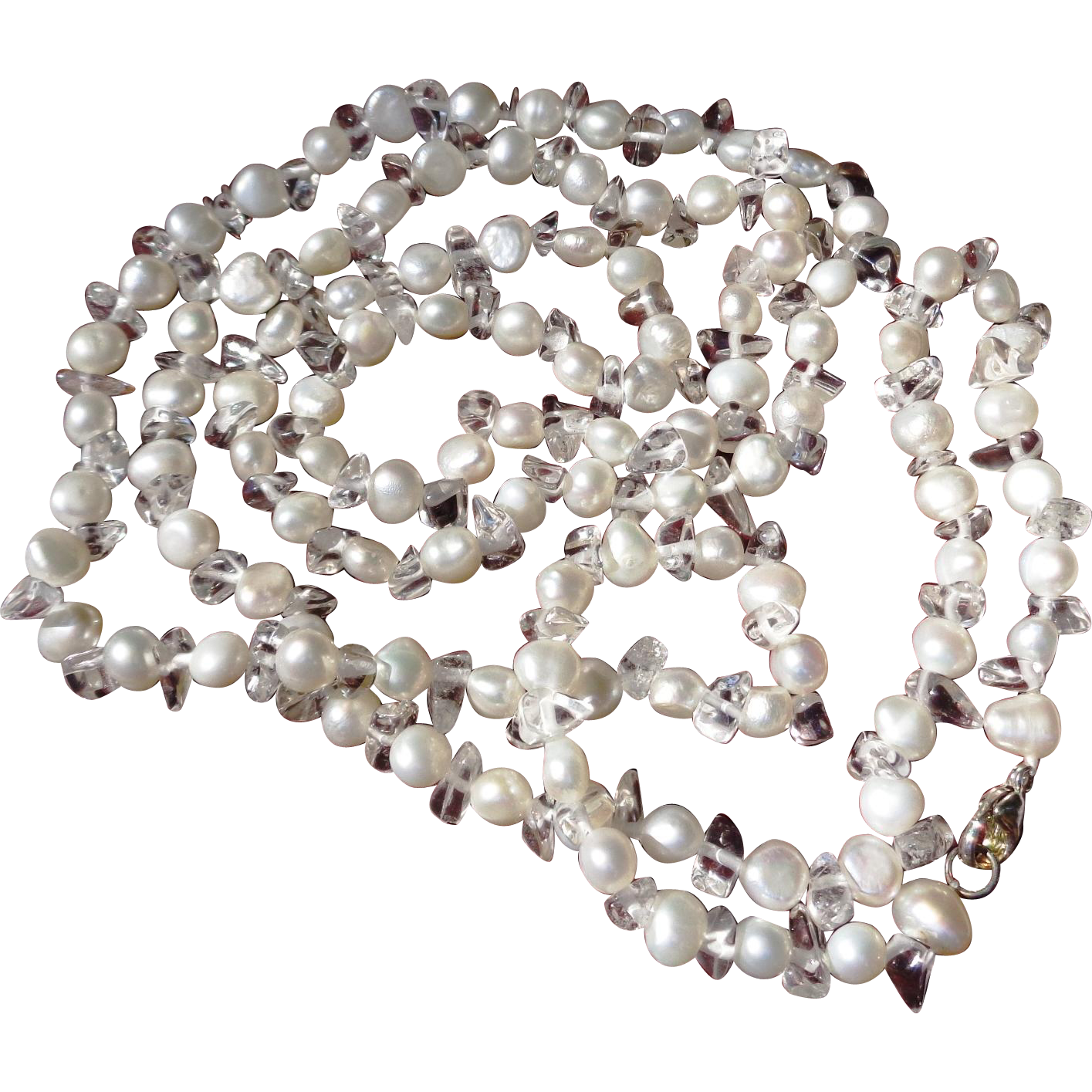 """Fresh Water Pearl and Crystal Necklace, Sterling Clasp - 36"""""""