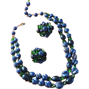Schiaparelli Blue and Green Necklace Earrings Set 1949-1955