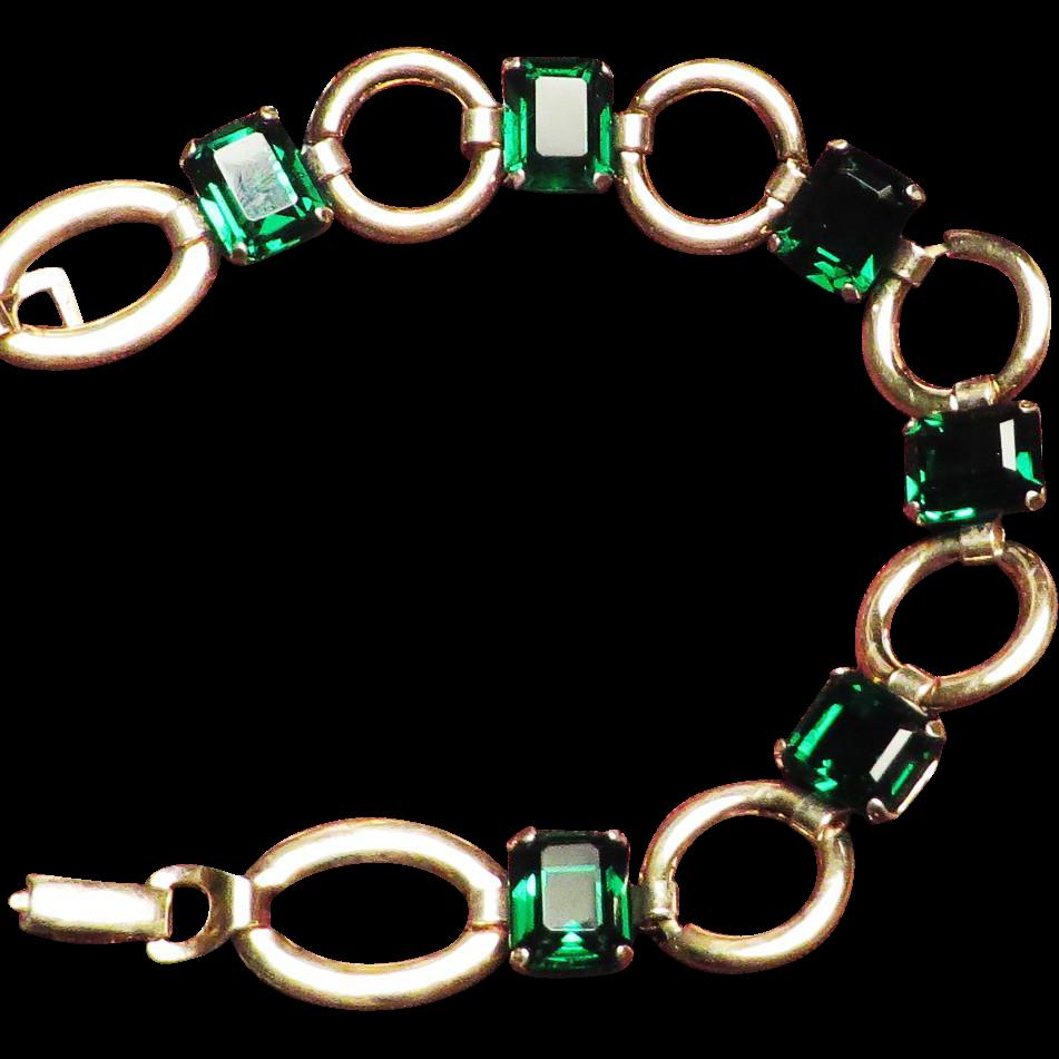 Walter Lampl Emerald Green Bracelet - 1940's