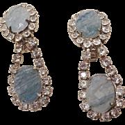 Unusual Kenneth Lane Lava Glass and Rhinestone Earrings