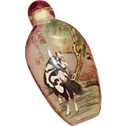 Chinese Reverse Painted Snuff Bottle - Horses