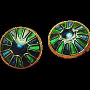 Henkel Grosse Peacock Colors Enamel Earrings - 1967