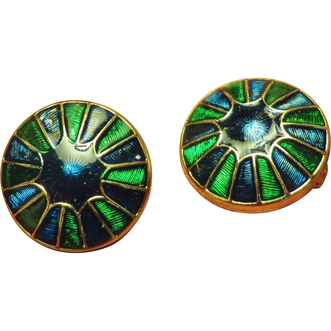 Henkel Grosse Peacock Colors Enamel Earrings - 1967